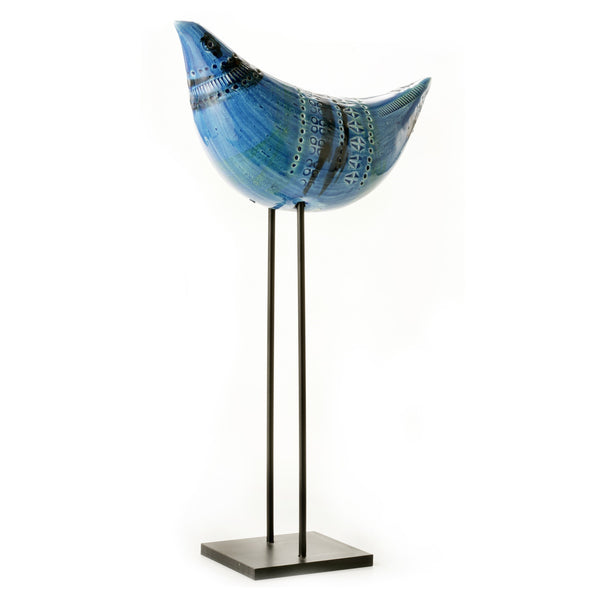 Rimini Blu. Bird on a Stand, made by Bitossi Ceramiche in Montelupo, Italy.