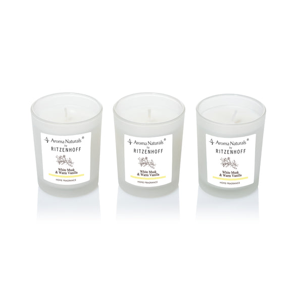 AROMA NATURALS | Nature | Scented Candle | Set of 3 | White Musk