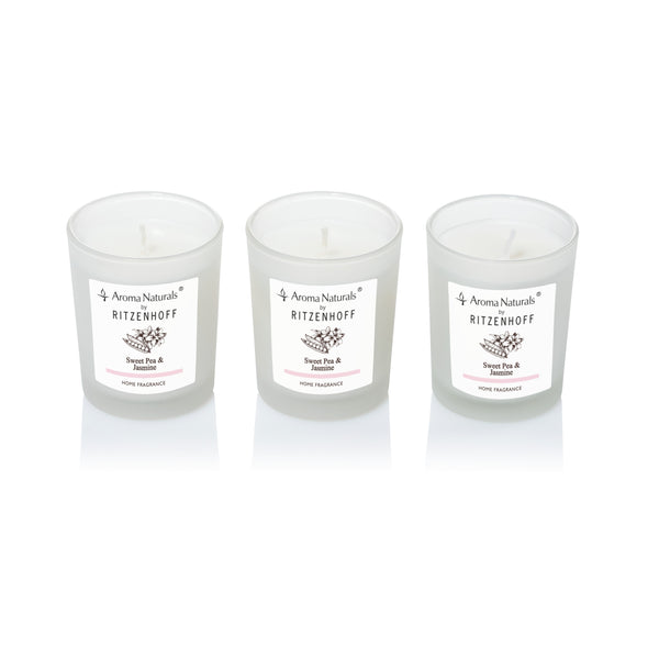 AROMA NATURALS | Nature | Scented Candle | Set of 3 | Sweet Pea & Jasmine