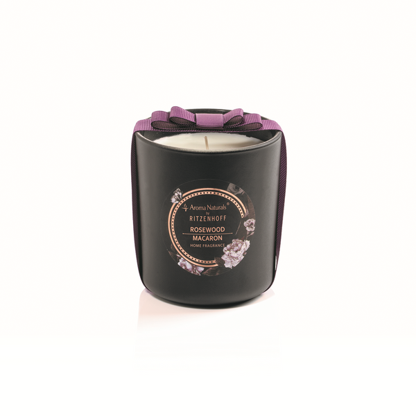 AROMA NATURALS | Noir | Scented Candle | Rosewood Macaron | 88mm