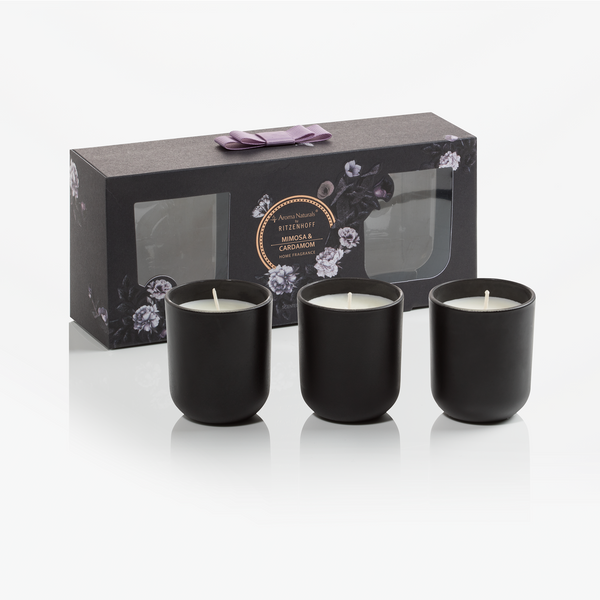 AROMA NATURALS | Noir | Scented Candle | Mimosa & Cardamon | Set of 3