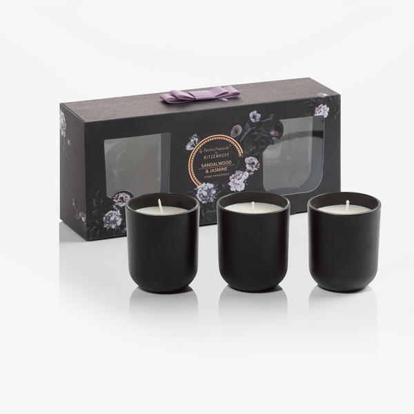 AROMA NATURALS | Noir | Scented Candle | Black Amber & Ginger Lily | Set of 3