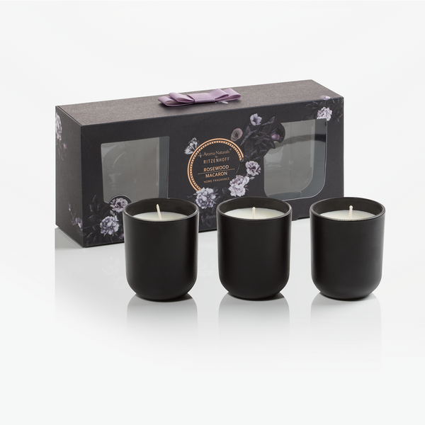 AROMA NATURALS | Noir | Scented Candle | Rosewood Macaron | Set of 3