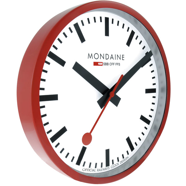 Mondaine Swiss Railway Clock in a Red frame with 250mm Diameter and Red ticker