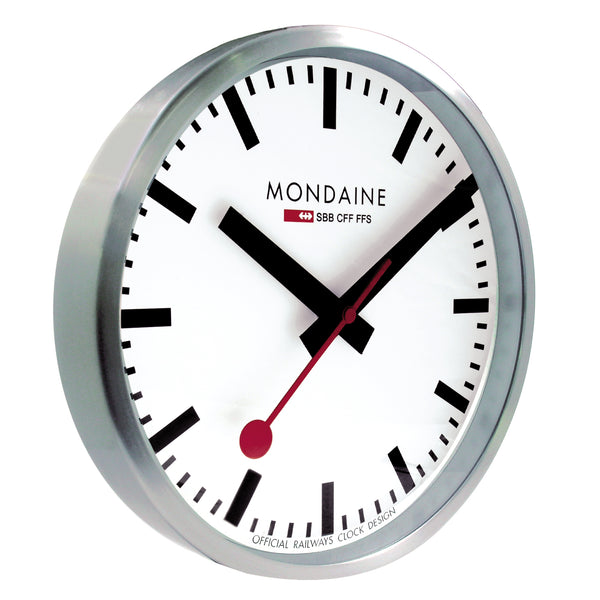 Mondaine Swiss Railway Clock with a 400mm Diameter and Red ticker
