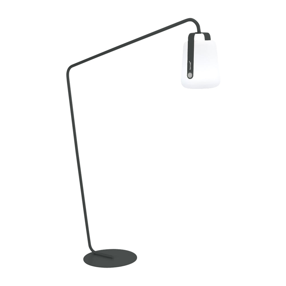 Balad Offset Stand by Fermob in Anthracite with Fermob Lamp attached to the stand.