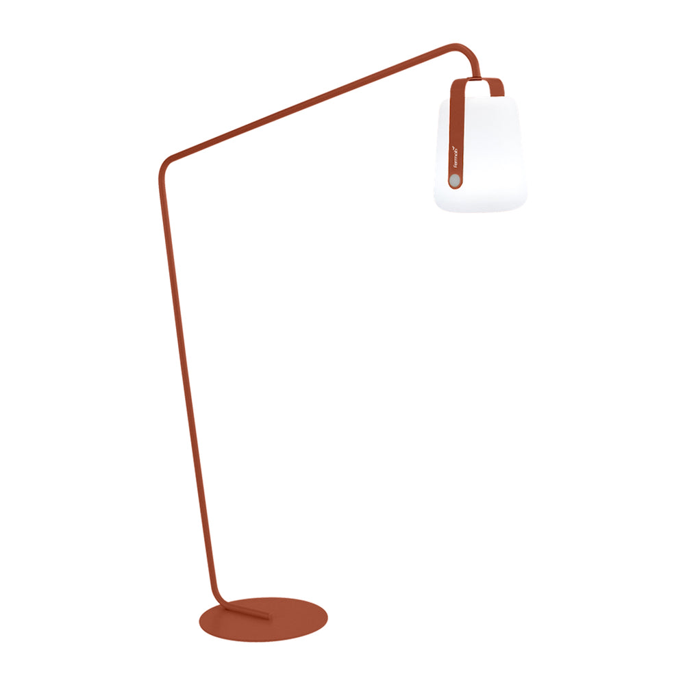 Balad Offset Stand by Fermob in Red Ochre with Fermob Lamp attached to the stand.