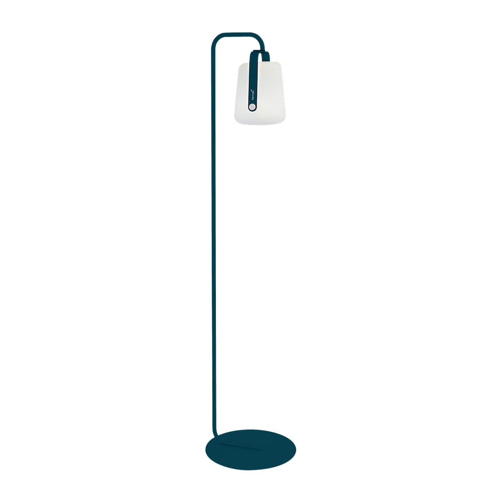 Balad Upright Stand by Fermob in Acapulco Blue with Fermob Lamp attached to the stand.