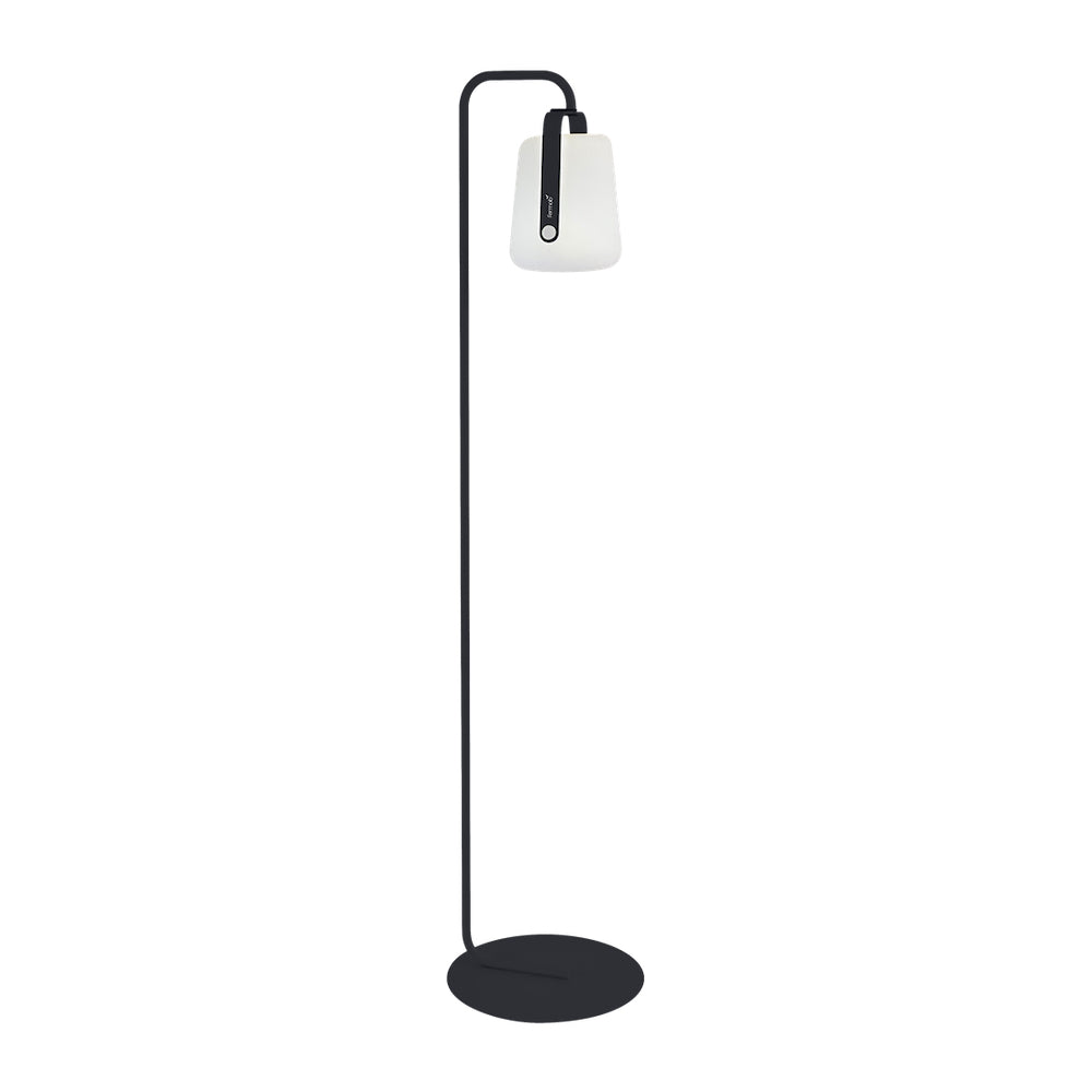 Balad Upright Stand by Fermob in Anthracite with Fermob Lamp attached to the stand.