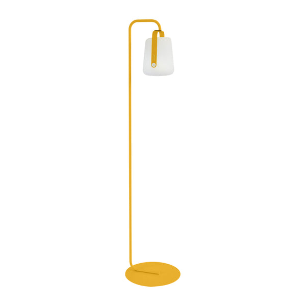 Balad Upright Stand by Fermob in Honey with Fermob Lamp attached to the stand.