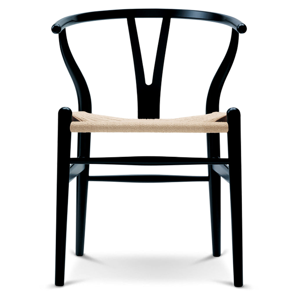CARL HANSEN & SØN | CH24 Wishbone Chair | Hans J. Wegner | Beech frame | Black | Natural seat | Quick Ship - Available in 3 to 4 weeks