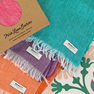 McNUTT OF DONEGAL | Scarf in Gift Box | Irish Linen Herringbone | Peacock