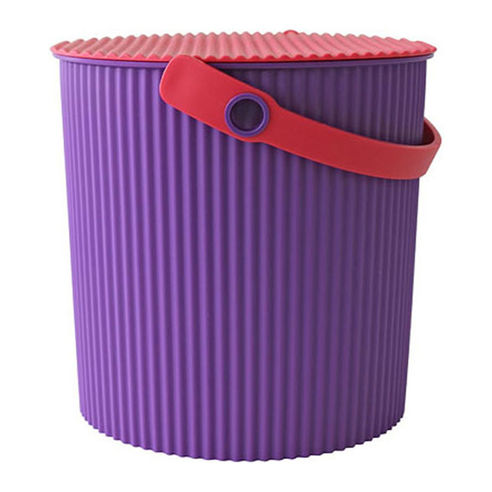 Large Hachiman Omnioutil Bucket in Purple with a Red lid and handle.