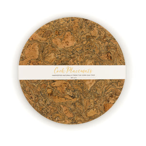 LIGA | Set of 4 Round Cork Placemats | Marbled Cork | 30cm Dia