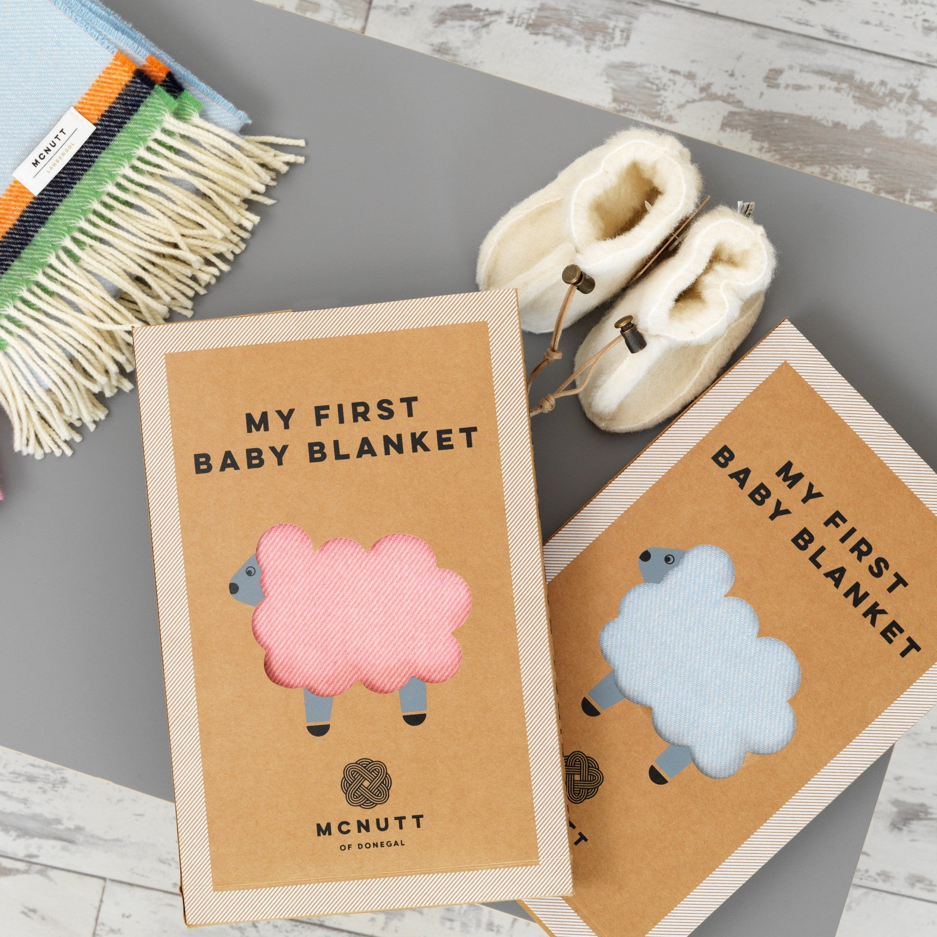 McNUTT OF DONEGAL | Lambswool Baby Blanket & Box | Pink Flamingo
