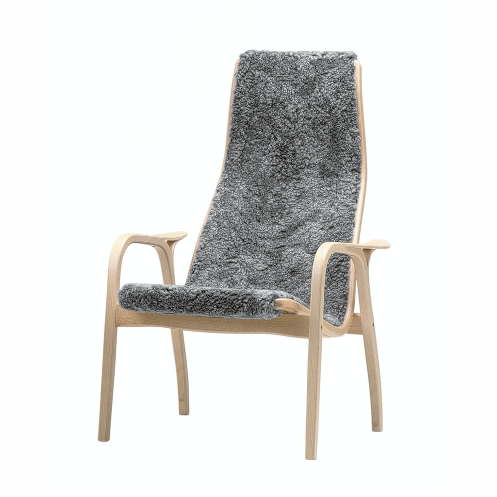 Yngve Ekstrom's Swedese Lamino chair with Grey Sheepskin on an Oiled Oak Frame