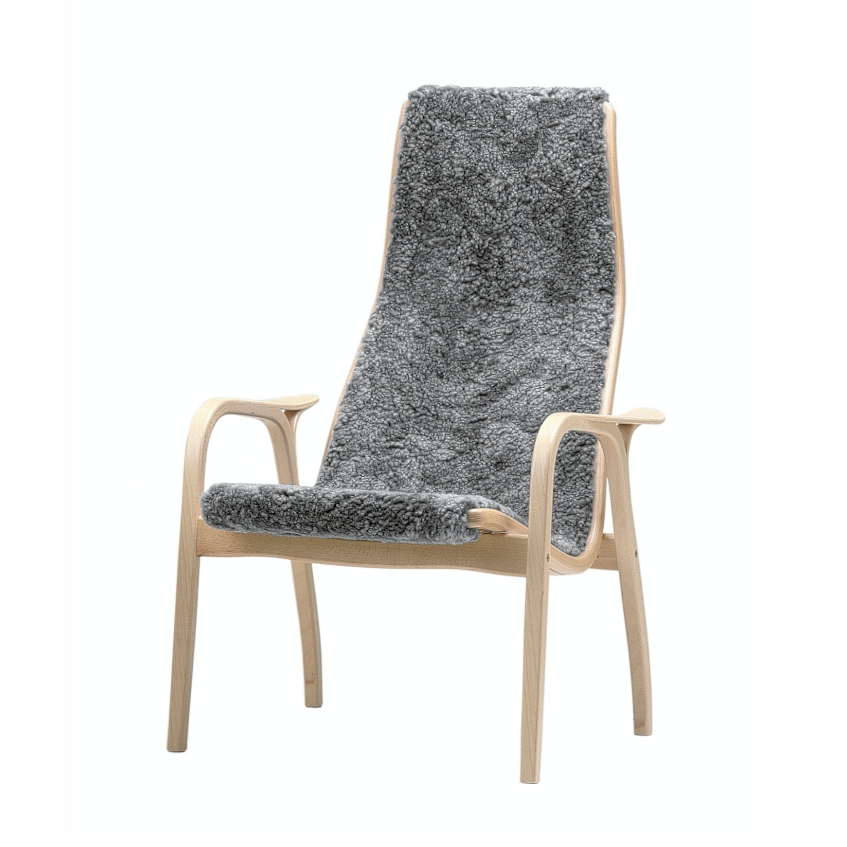 SWEDESE | Lamino Chair Only | Oak Oiled frame | Scandinavian Grey Sheepskin Upholstery