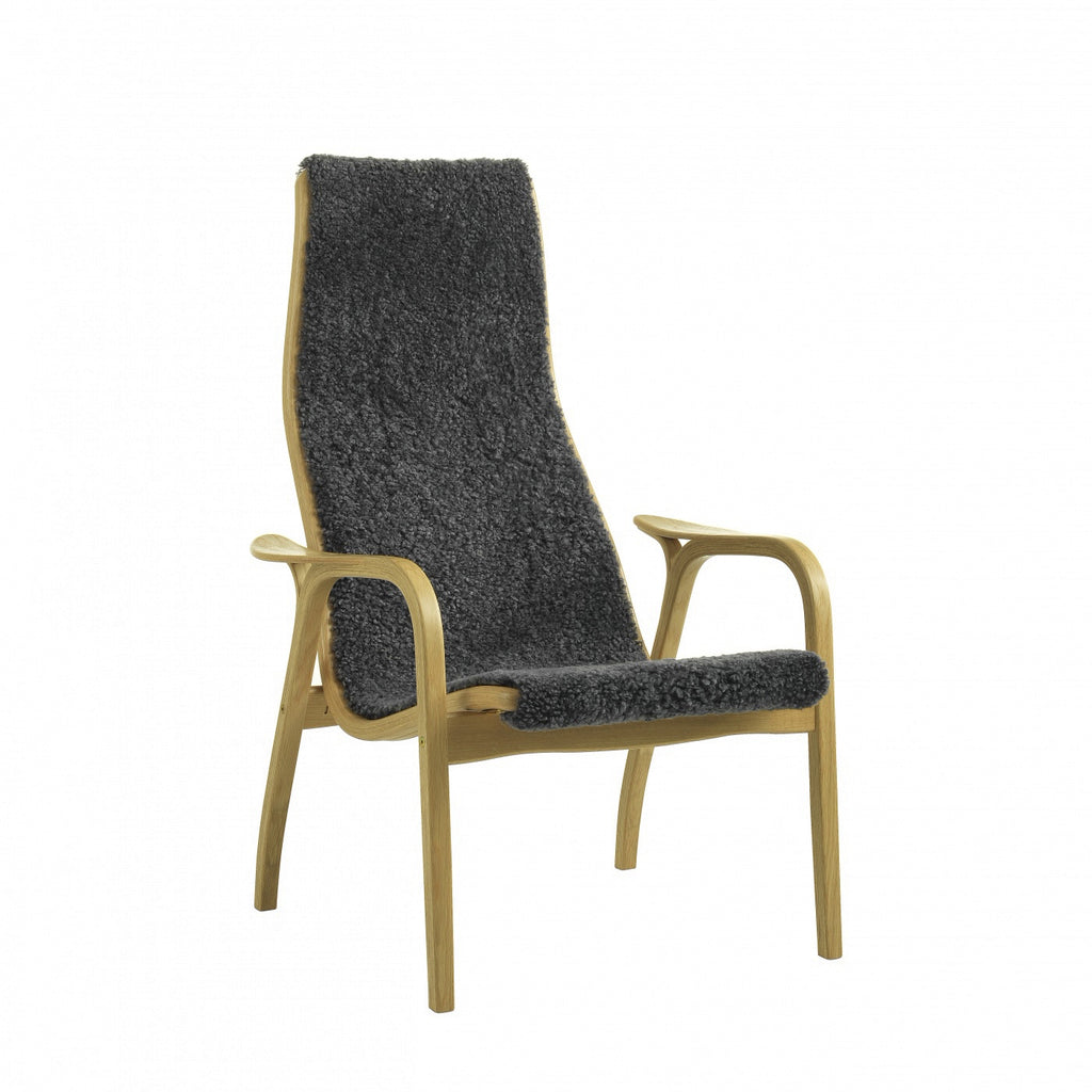 Yngve Ekstrom's Swedese Lamino Chair with Charcoal Sheepskin on an Oiled Oak frame