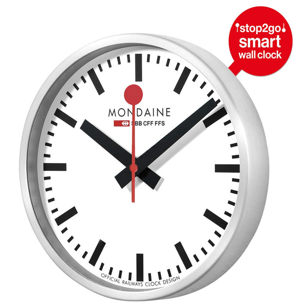 MONDAINE | Swiss Railway Clock |  Bluetooth 'Stop2Go' Smart Clock | 250mm ⌀