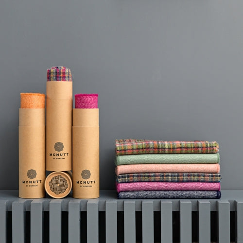 McNUTT OF DONEGAL | Scarf in Gift Tube | Lambswool Herringbone | Ards Pink Check