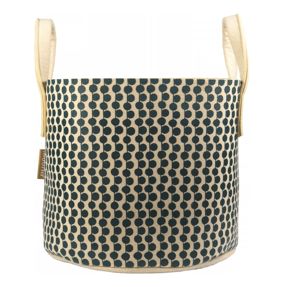 MUURLA | 'Felt' Bag | Berries Beige/Green Basket | 30L | Made from Recycled Plastic Bottles