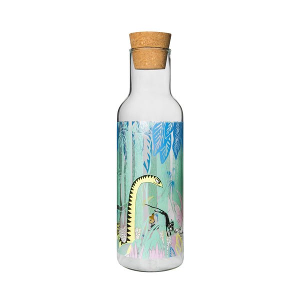 MUURLA | Moomin | Moomins in the Jungle | Glass Bottle with Cork Stopper | 1 Litre