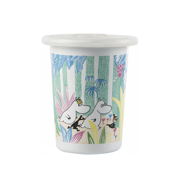 MUURLA | Moomin | Moomins in the Jungle | Enamel Tumbler with Silicone Lid | 50cl