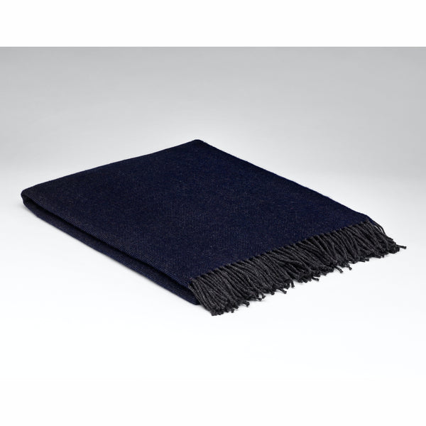 McNUTT OF DONEGAL | Supersoft Throw Herringbone | Slate Navy