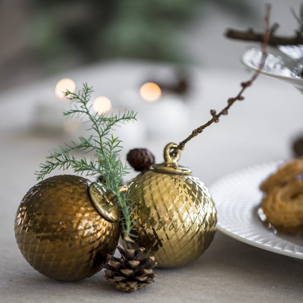 Lyngby Porcelain   Rhombe Gold Decoration Bauble
