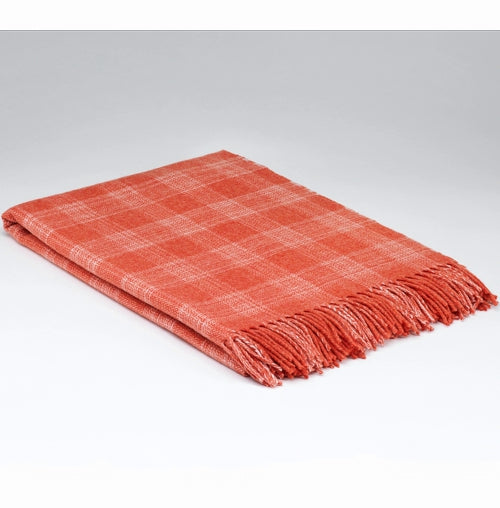 McNUTT OF DONEGAL | Supersoft Throw Herringbone | Coral Plaid