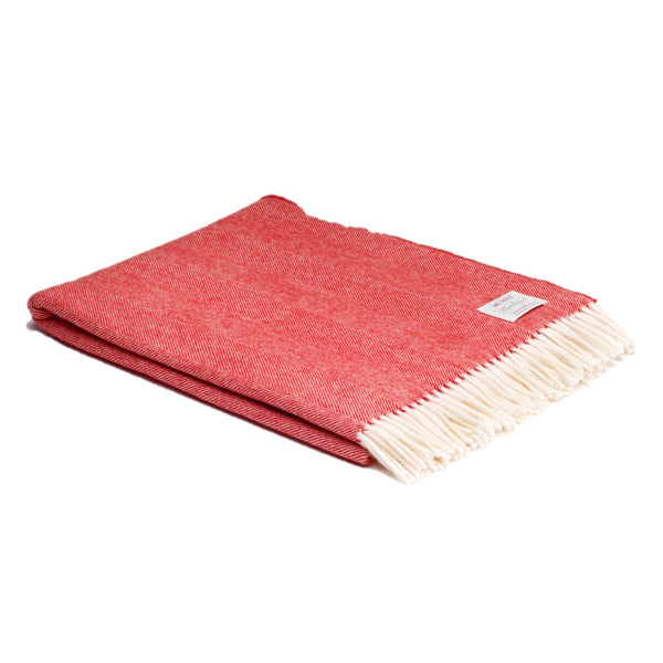 McNUTT OF DONEGAL | Supersoft Throw Herringbone | Red & Cream