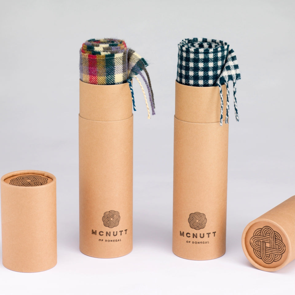 McNUTT OF DONEGAL | Scarf in Gift Tube | Lambswool Herringbone | Linen