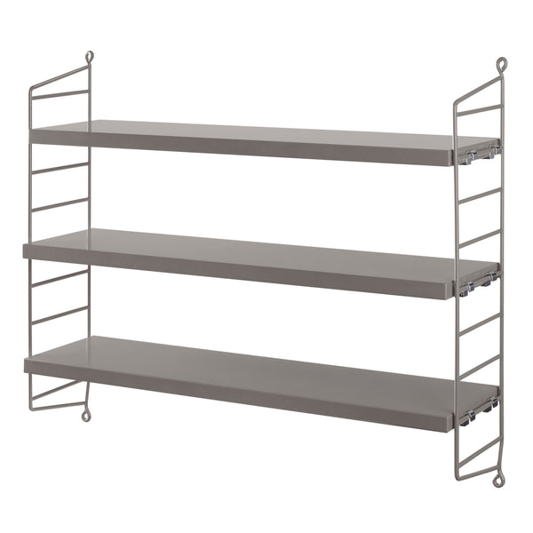 String Pocket Shelving with 3 Grey Shelves and 2 Grey String Panels
