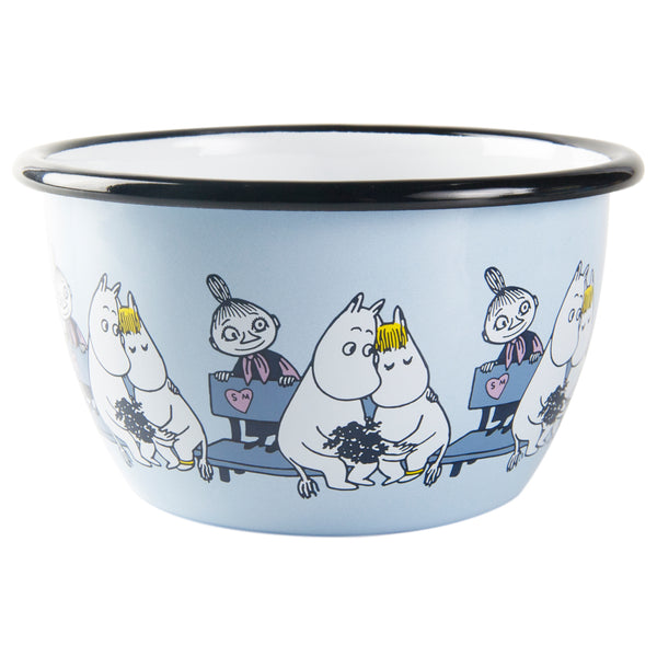 MUURLA | Moomin | Friends | Enamel Bowl | Blue | Moomin, Snorkmaiden & Mymble | 6dl