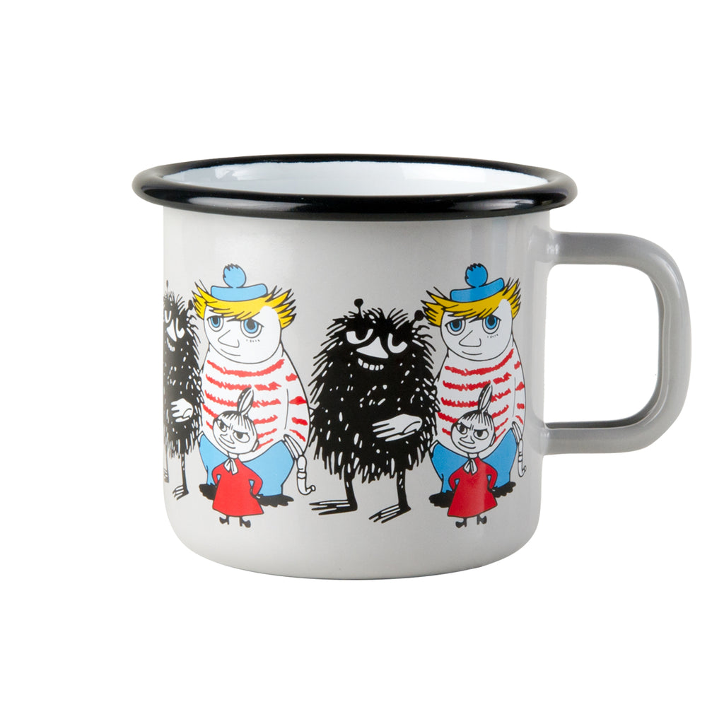 MUURLA | Moomin | Friends | Enamel Mug | Grey | Stinky, Little My & Tooticky | 3.7dl