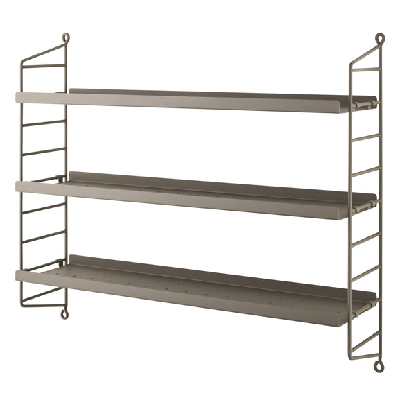 String Pocket Metal in Taupe/Taupe. 3 Taupe metal Shelves and 2 Taupe Metal Side Panels