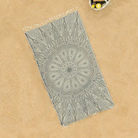 Black Sable (Boho Mandala) Beach Towel