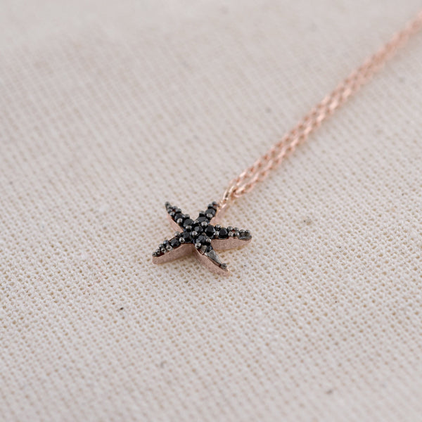 Black Astérie (925 Sterling Silver) Starfish Necklace