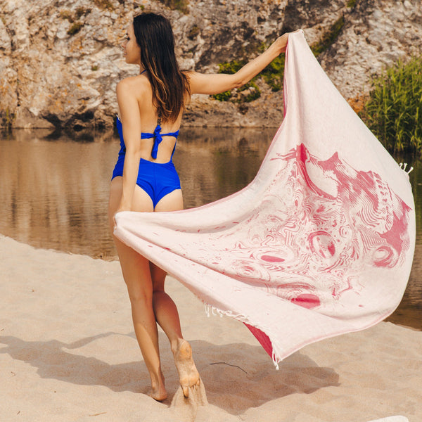 Lahaina Rise (Pink Skull) Beach Towel - Cotton Fellas