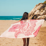 Miriam's Life (Pink Hamsa) Beach Towel - Cotton Fellas