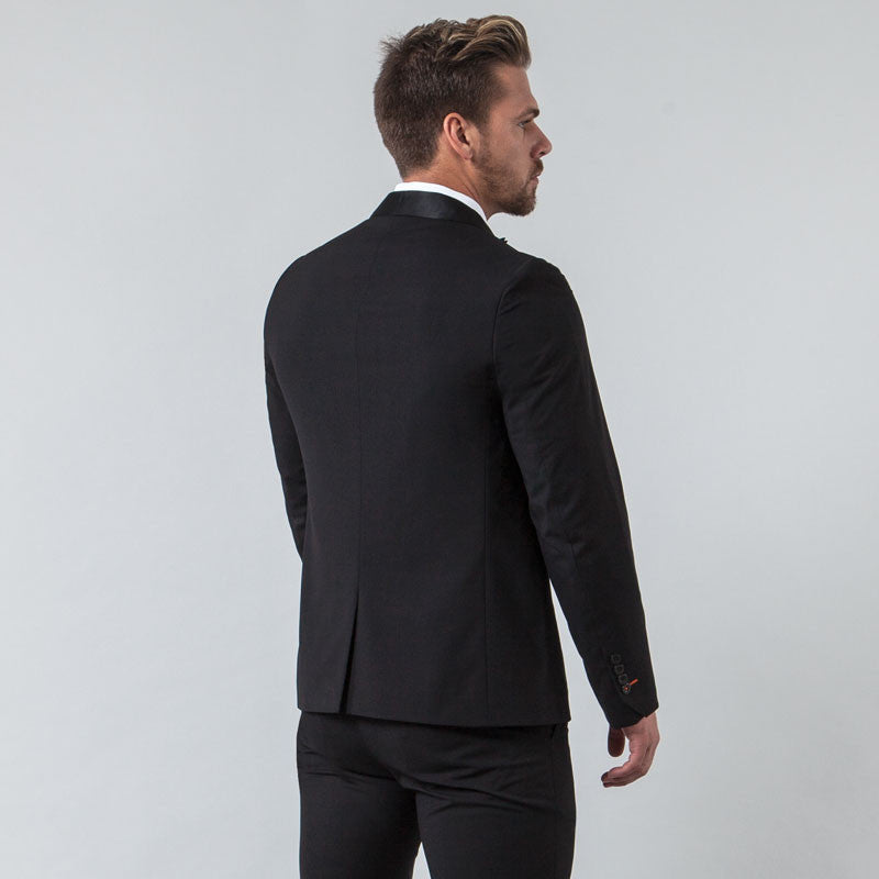 Black Muscle Fit Tuxedo Jacket