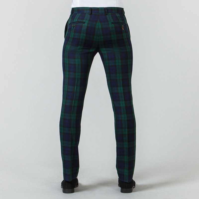 Black Watch Tartan Suit Muscle Fit Trousers