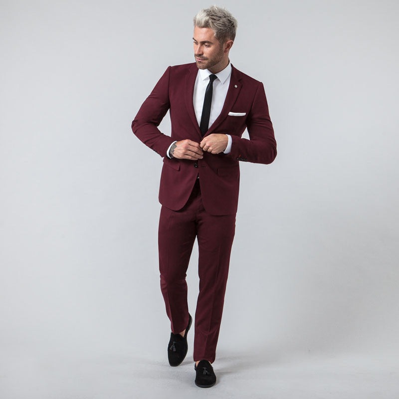 Burgundy Muscle Fit Suit