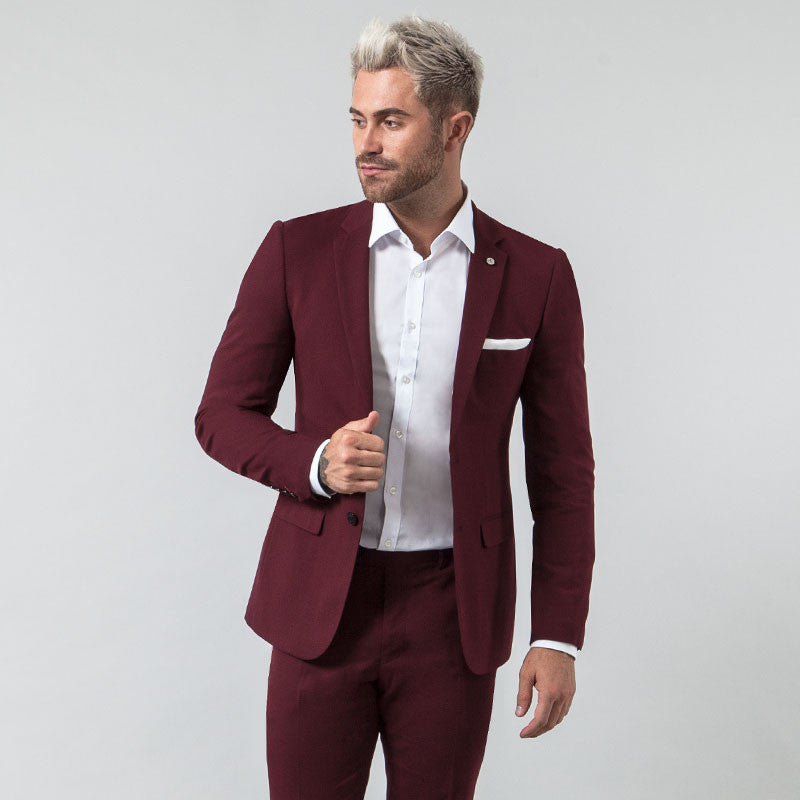 Burgundy Muscle Fit Blazer