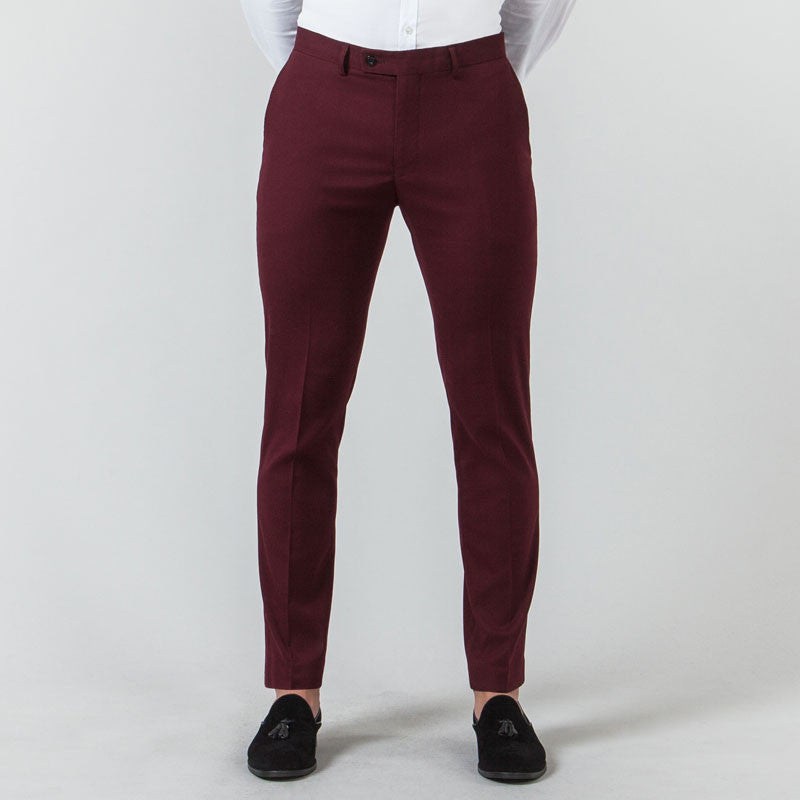 Burgundy Suit Muscle Fit Trousers