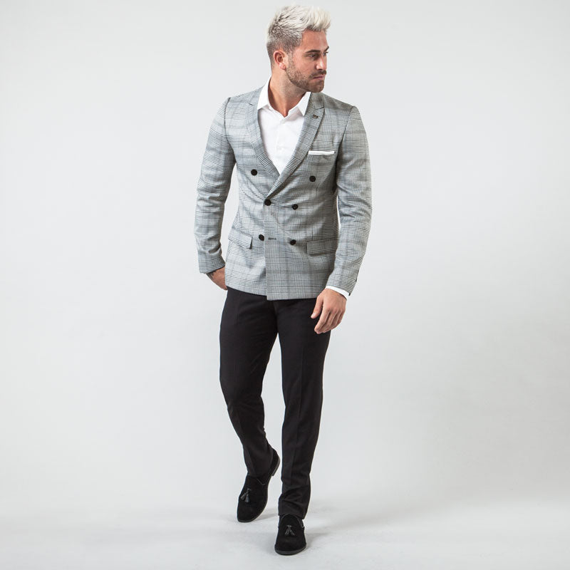 Charcoal Check Double Breasted Muscle Fit Suit