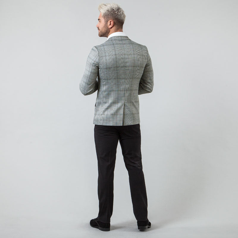 Charcoal Check Double Breasted Slim Fit Suit