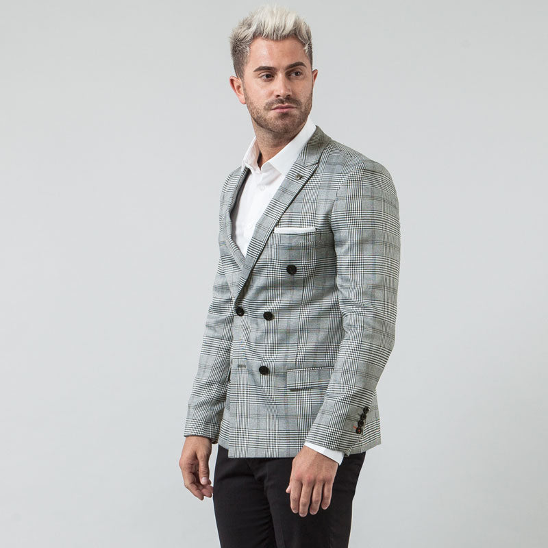 Charcoal Check Double Breasted Muscle Fit Blazer