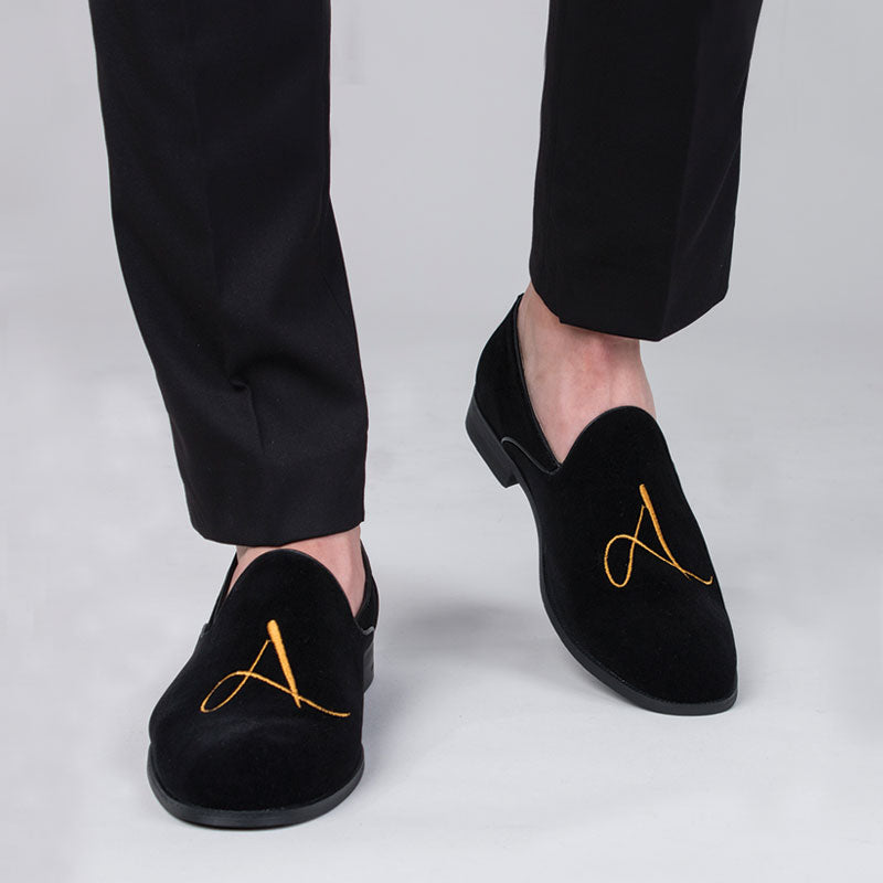 Black Embroidered Velvet Slip-on Shoes