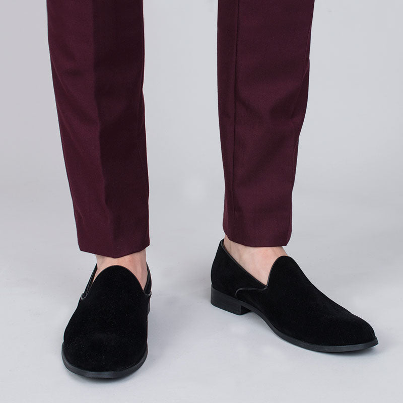 Black Velvet Slip-on Shoes